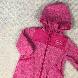 Stevies Pink Fleece Baby Bunting Snowsuit 3-6M